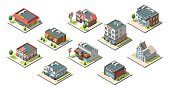 Vector isometric buildings set. Isolated on white background