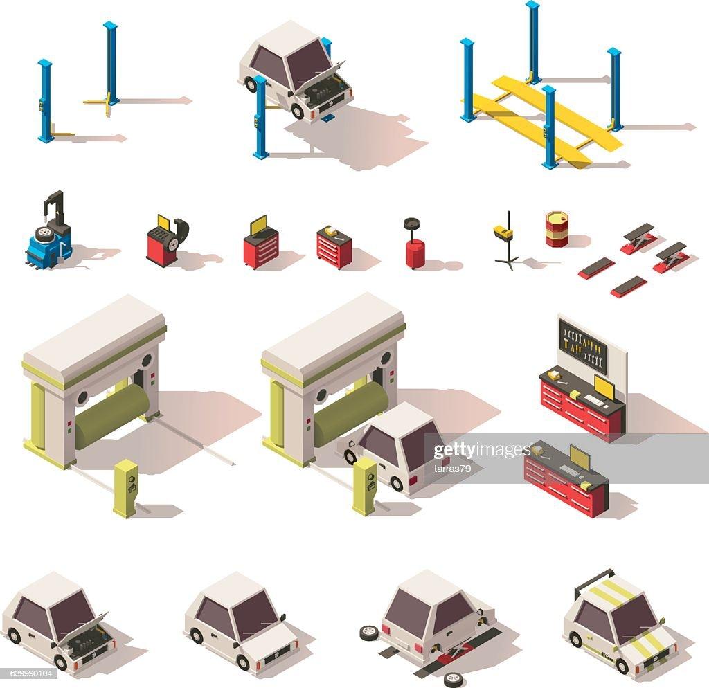 Vector isometric car service equipment set