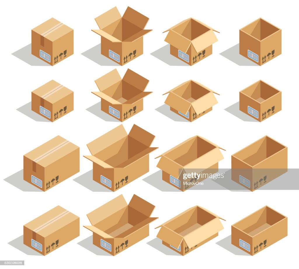 Vector isometric cardboard boxes
