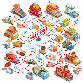 Vector isometric cars fast delivery of food and food trucks, street fast food carts, fast food icons