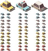 Vector isometric cars set