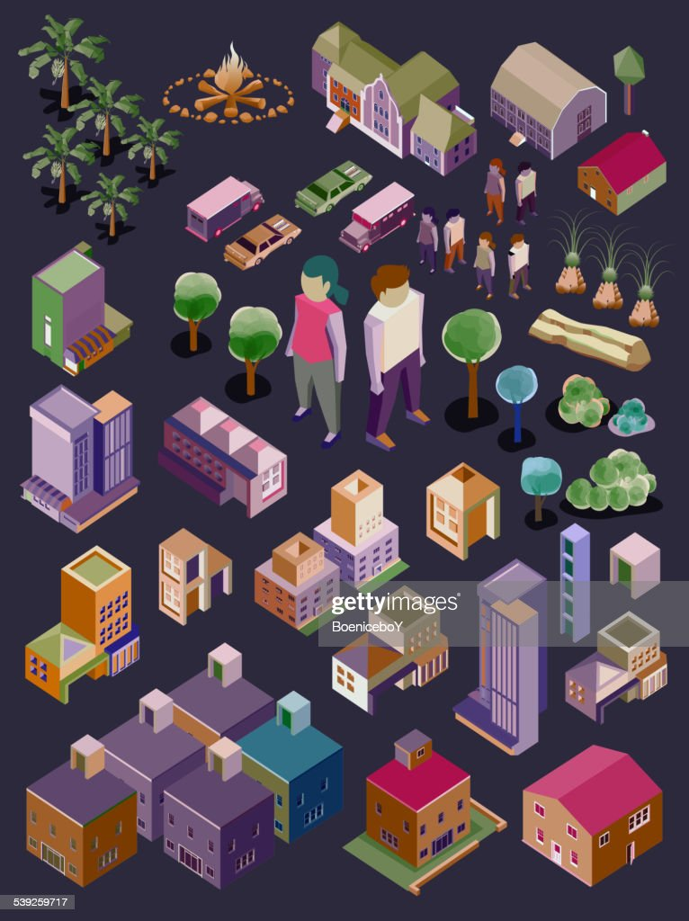 vector isometric city and buildings set