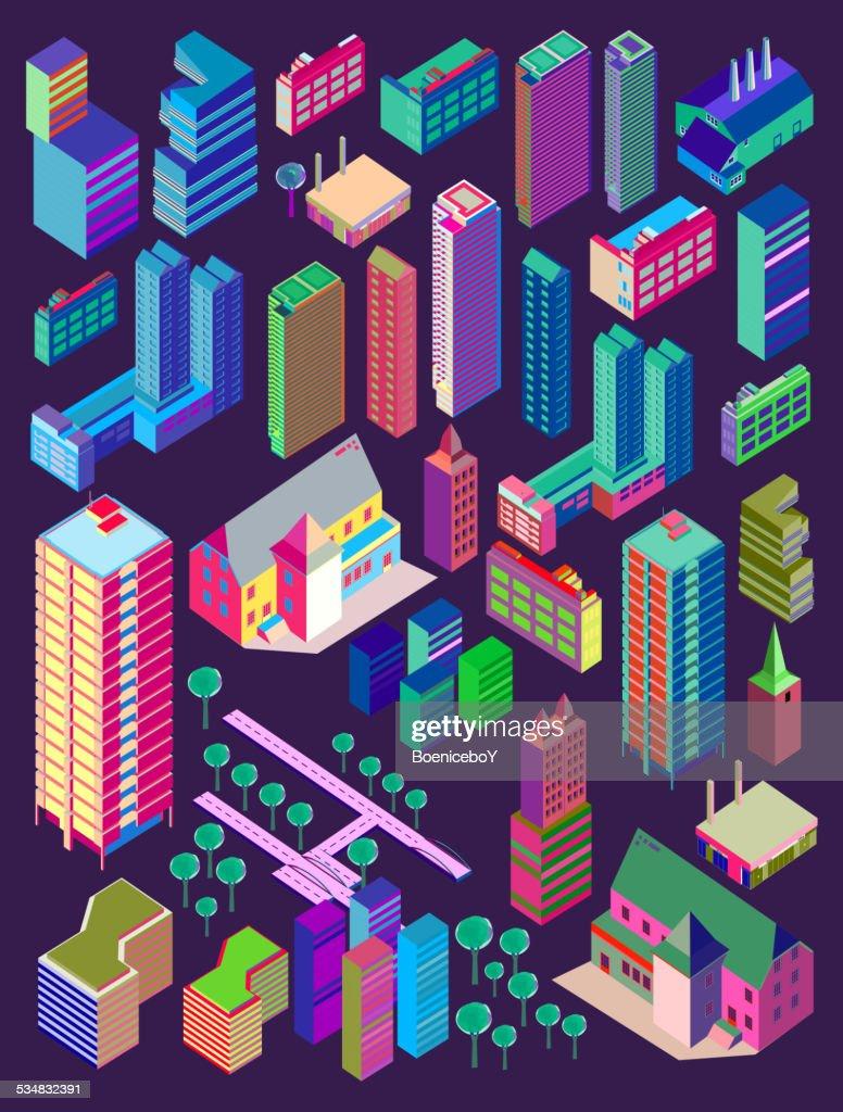 Vector isometric city building. custom map element