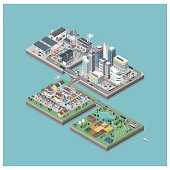 Vector isometric city isles with people and vehicles