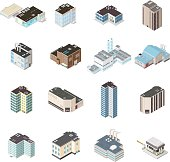 Vector Isometric City Map Buildings.