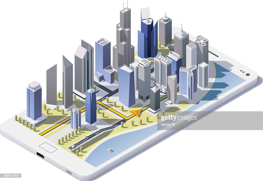 Vector isometric city navigation icon