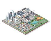 Vector isometric city with buildings, people and vehicles