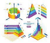 Vector isometric colorful infographics illustrations set