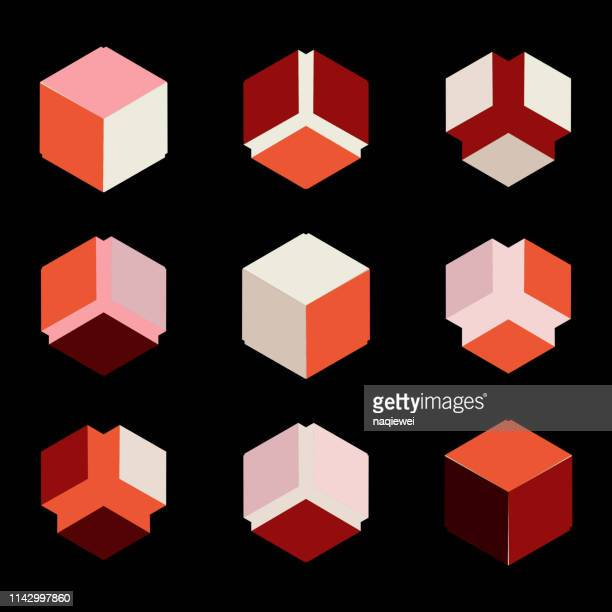 vector isometric cube pattern symbol collection - cube stock illustrations