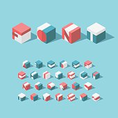 Vector isometric cubical alphabet. Latin typeface.