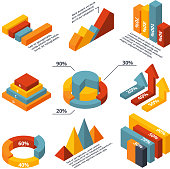 Vector isometric diagrams for business infographic
