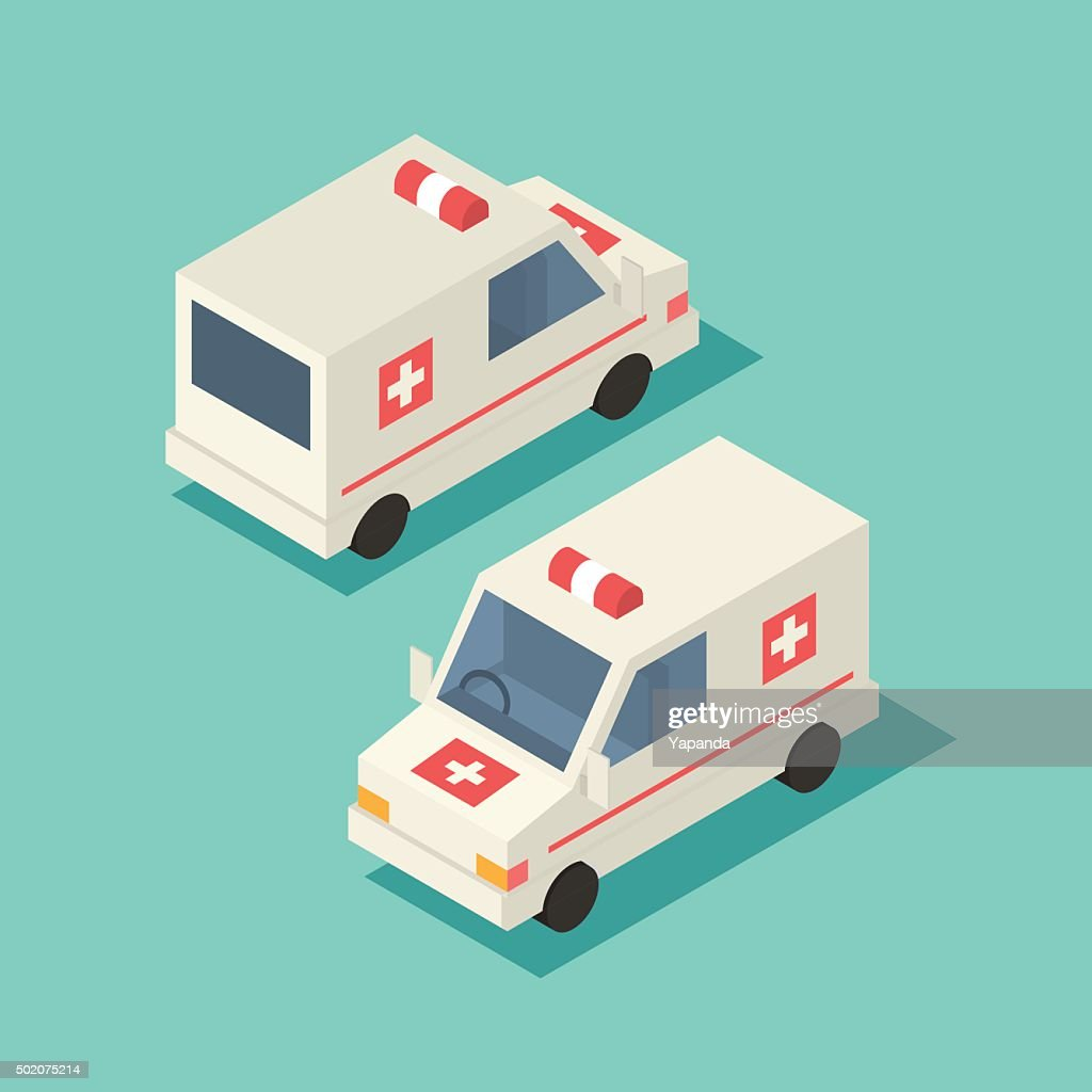 Vector isometric emergency car icon