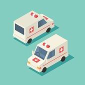 Vector isometric emergency car icon