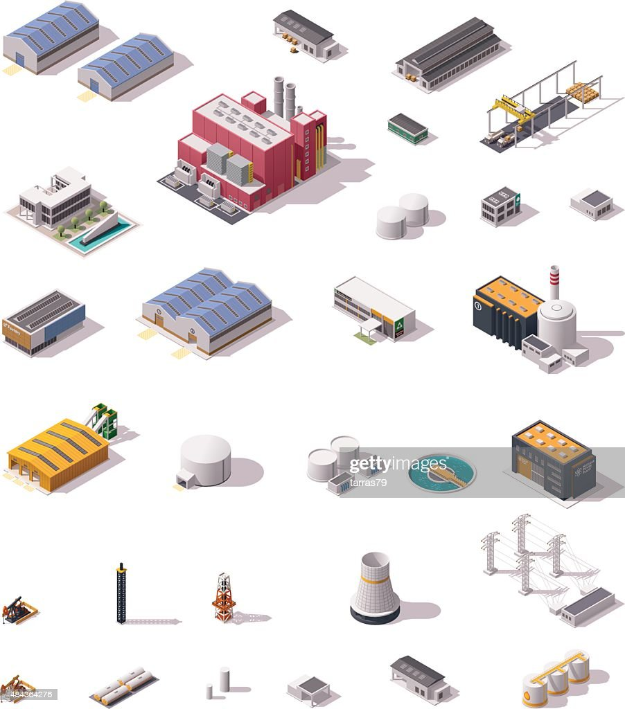 Vector isometric factory buildings set
