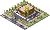 Vector isometric fast food restaurant