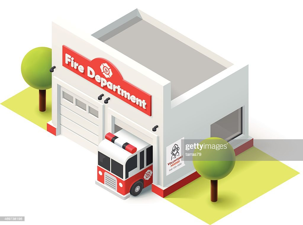 Vector isometric fire department