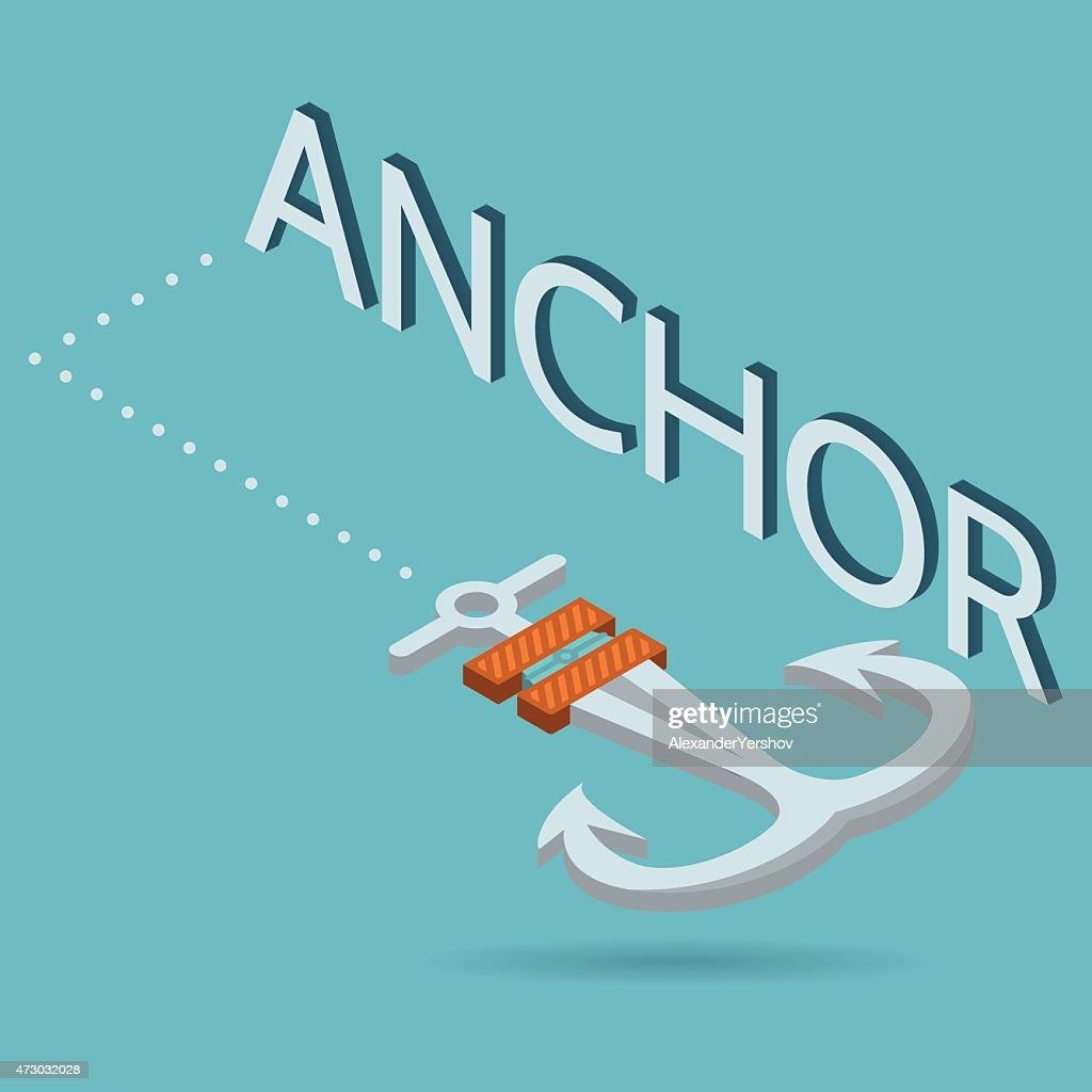 Vector isometric flat illustration of anchor