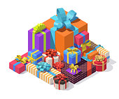 Vector isometric gift boxes