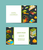 Vector isometric hotel icons business card set