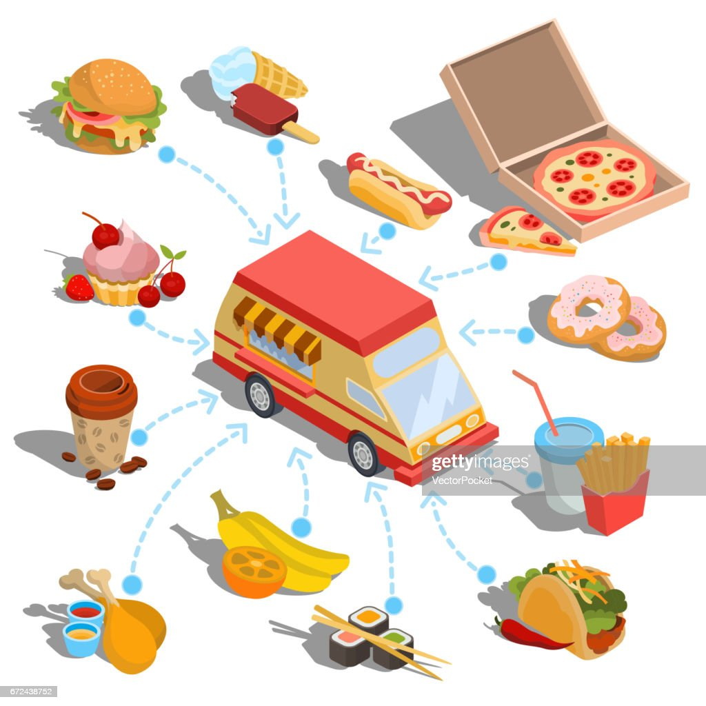 Vector isometric icons - car fast delivery of food or food truck, set of icons of various food products
