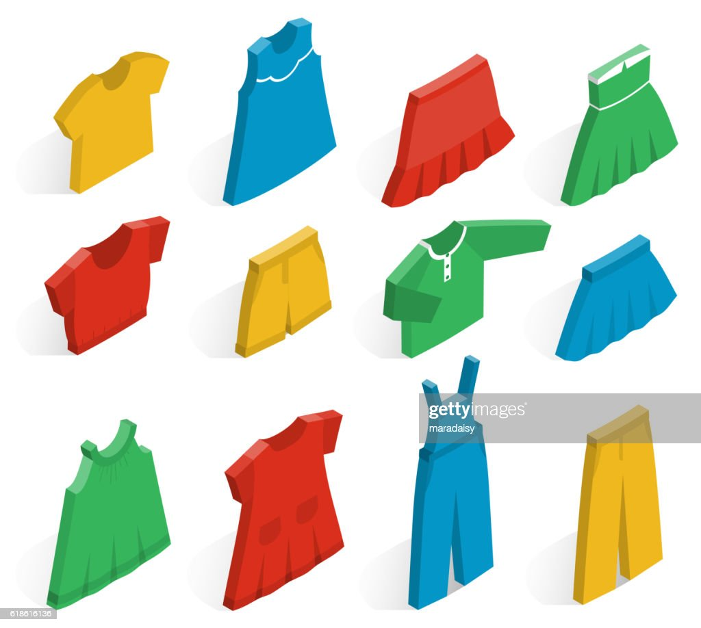 Vector isometric icons of clothes for girls.