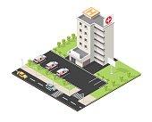 Vector isometric illustration city medical center facades landscape.