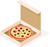 Vector isometric illustration icon of a take away pizza.