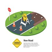 Vector isometric illustration of building a new road.