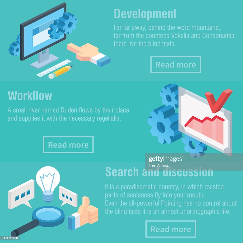 Vector isometric illustration of development, workflow and discussion process