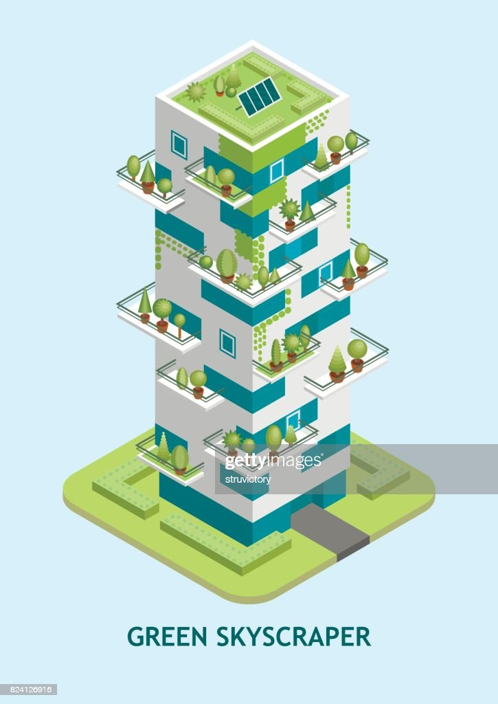 Vector isometric illustration of modern skyscraper with a green roof with solar panels.
