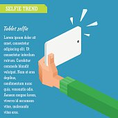 Vector isometric illustration. Selfie in flat infographic style