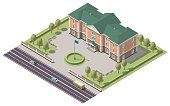 Vector isometric infographic element or university building. Flat illustration on white background