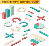 Vector isometric infographic elements. Flat isometric infographi