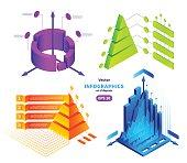 Vector isometric infographics illustrations set
