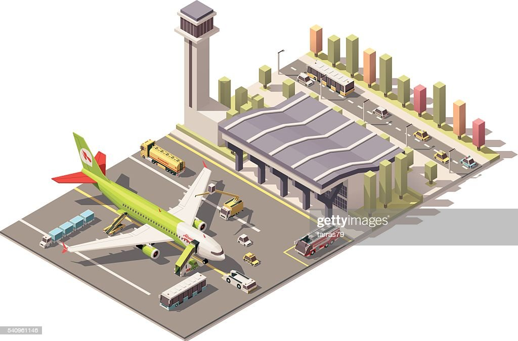 Vector isometric low poly airport terminal building with airplane and