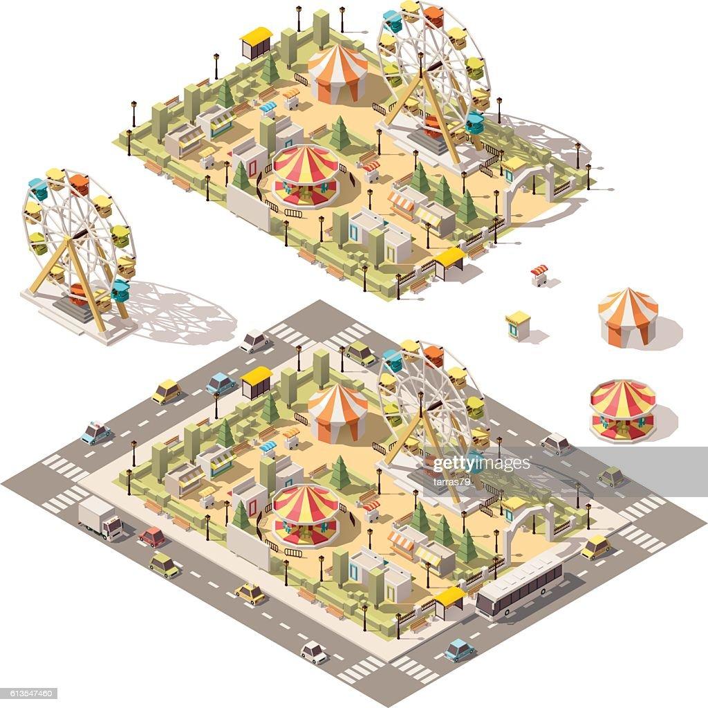 Vector isometric low poly amusement park