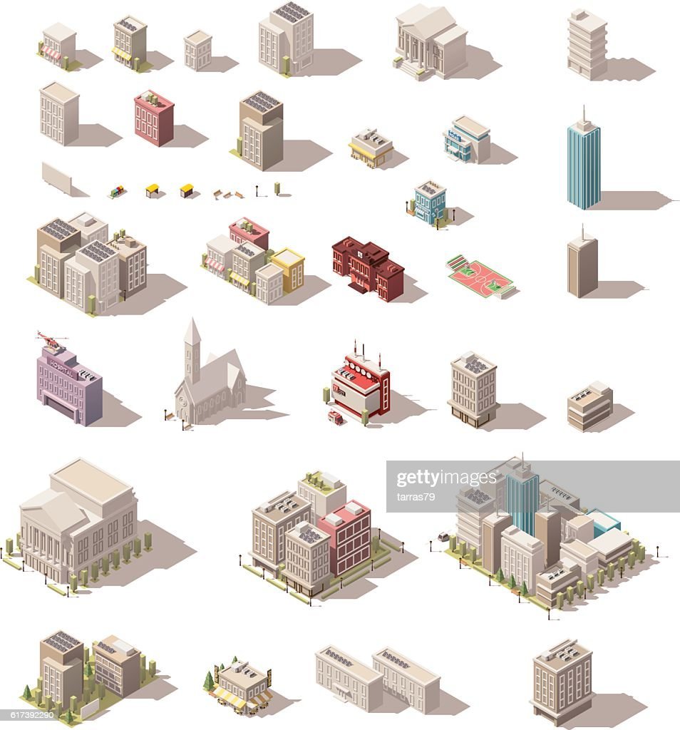 Vector isometric low poly buildings set