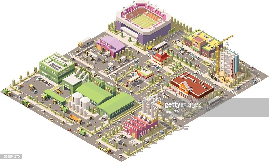 Vector isometric low poly city