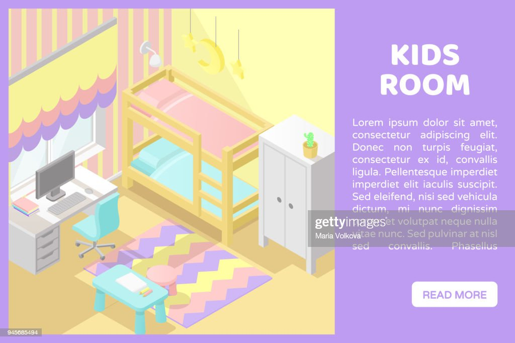 Vector isometric low poly cutaway interior illustartion. Kids room. Banner for a web site