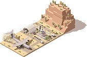 Vector isometric low poly desert airport terminal building