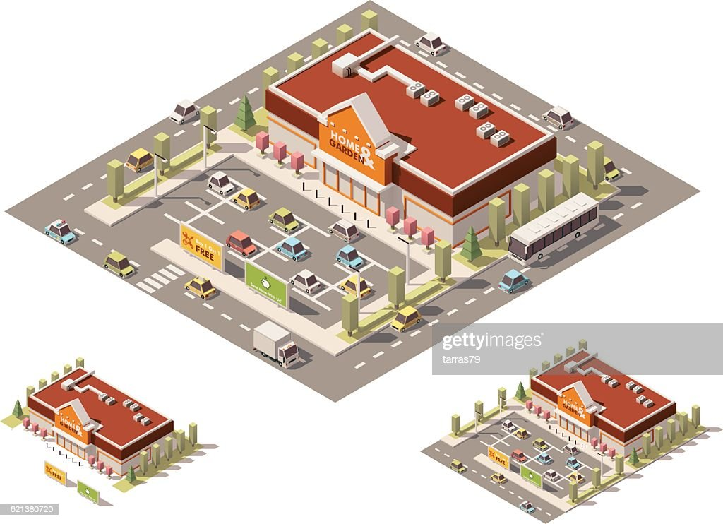 Vector isometric low poly home-improvement store