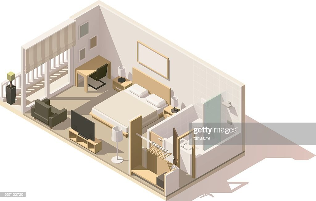 Vector isometric low poly hotel room icon