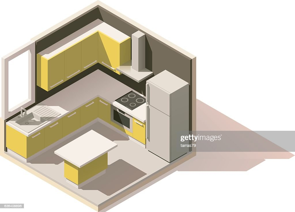Vector isometric low poly kitchen room icon