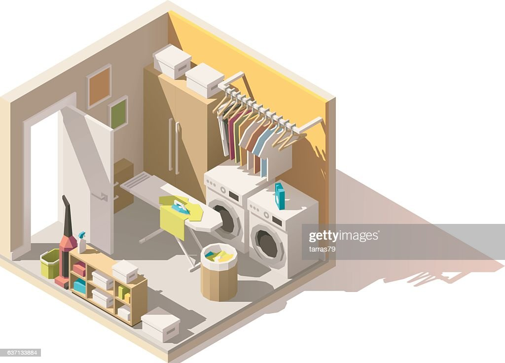 Vector isometric low poly laundry room icon