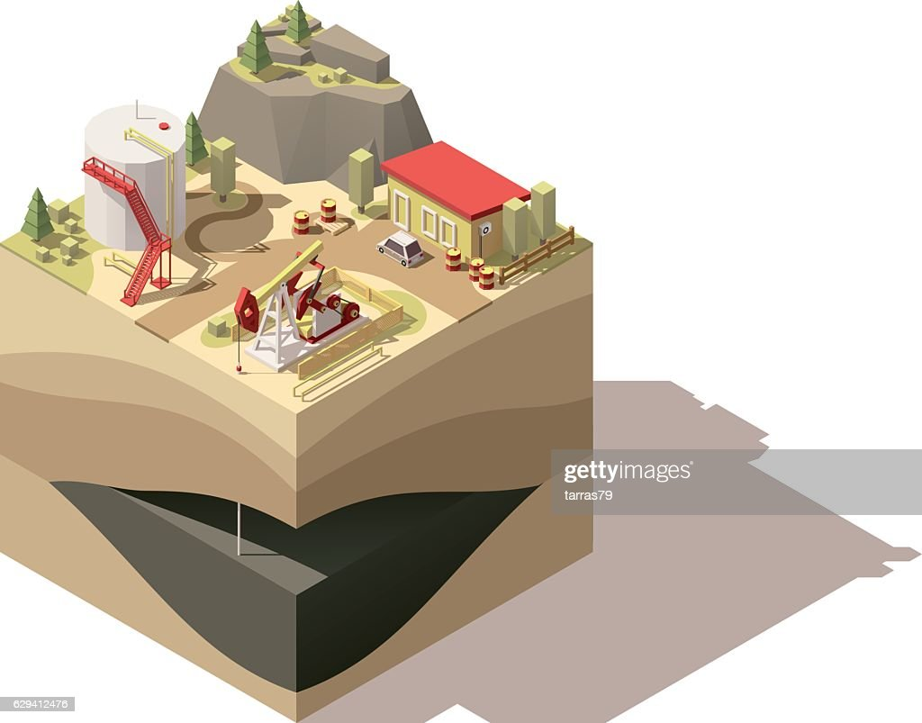 Vector isometric low poly oil pumpjack