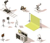 Vector isometric low poly video equipment set