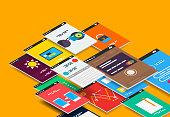 Vector isometric mobile app ui design concept