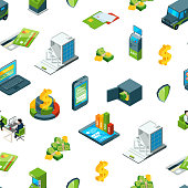 Vector isometric money in bank icons pattern illustration