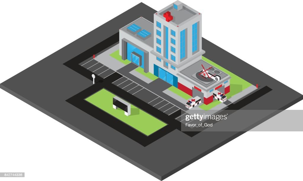 Vector isometric of hospital building with ambulance van