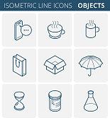 Vector isometric outline icon set.